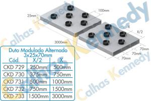 Duto Modulado Alternado 3x25x70mm