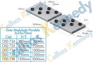 Duto Modulado Paralelo 3x25x70mm