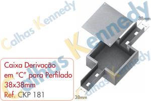 """Acessórios para Perfilados - Caixa com Derivação em """"C"""" para Perfilado 38x38mm"""