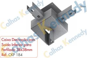 Acessórios para Perfilados - Caixa Derivação com Saída Inferior para Perfilado 38x38mm
