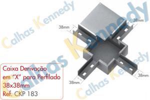 """Acessórios para Perfilados - Caixa com Derivação em """"X"""" para Perfilado 38x38mm"""