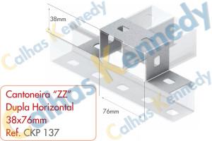 """Acessórios para Perfilados - Cantoneira """"ZZ"""" Dupla Horizontal 38x76mm"""