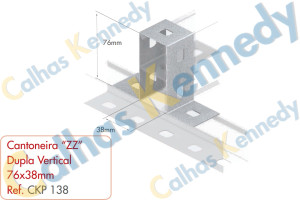 "Acessórios para Perfilados - Cantoneira ""ZZ"" Dupla Vertical 76x38mm"