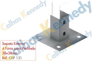 Acessórios para Perfilados - Sapata Externa 4 Furos Perfilado 38x38mm