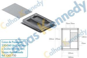 Acessórios para Dutos de Piso - Caixa de Passagem Quadrada 330x260mm (6x25x70mm+2x25x140mm) com Tampa Aparafusada
