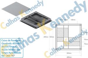 Acessórios para Dutos de Piso - Caixa de Passagem Quadrada 400x400 (8x25x70mm+4x25x140mm) com Tampa Aparafusada