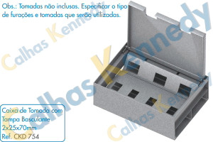 Acessórios para Dutos de Piso - Caixa de Tomada com Tampa Basculante 2x25x70mm