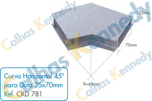 Acessórios para Dutos de Piso - Curva Horizontal 45 para Duto 25x70mm