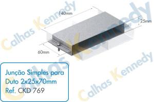Acessórios para Dutos de Piso - Junção Simples para Duto 2x25x70mm