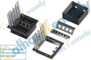 Acessórios para Calhas de Piso Duto BS - Caixa Quadrada em PVC para Piso Elevado