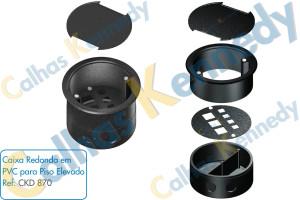 Acessórios para Calhas de Piso Duto BS - Caixa Redonda em PVC para Piso Elevado