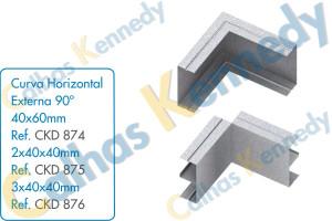 Acessórios para Calhas de Piso Duto BS - Curva Horizontal Externa 90