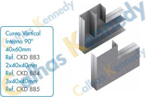 Acessórios para Calhas de Piso Duto BS - Curva Vertical Interna 90