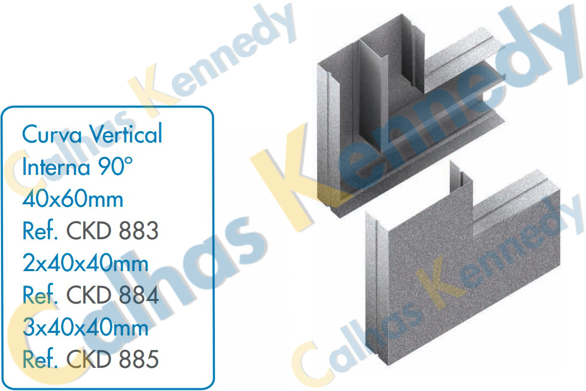 Acess rios para calhas de piso duto bs eletrocalhas kennedy for Curva vertical exterior 90