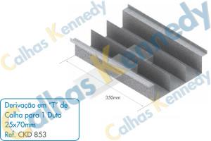 Acessórios para Calhas de Piso Duto BS - Derivação em T de Calha para 1 Duto 25x70mm