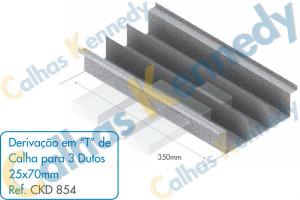 Acessórios para Calhas de Piso Duto BS - Derivação em T de Calha para 3 Dutos 25x70mm