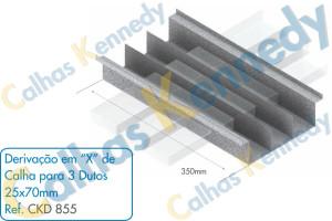 Acessórios para Calhas de Piso Duto BS - Derivação em X de Calha para 3 Dutos 25x70mm